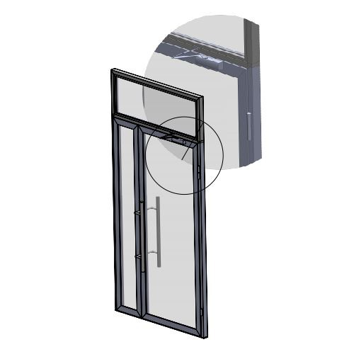 Полуторная распашная дверь с фрамугой заказать изготовление