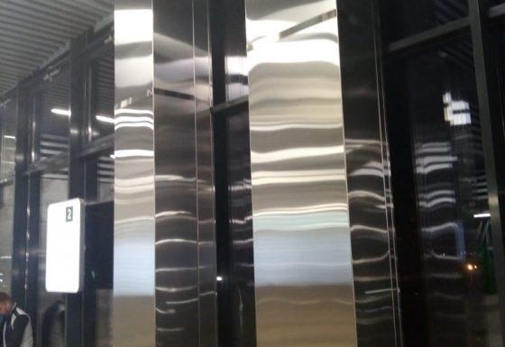 Облицовка квадратных колонн. Станция Нахабино